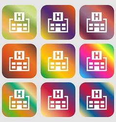 Hotkey icon Nine buttons with bright gradients for vector