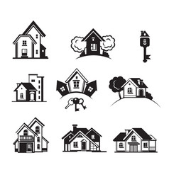 houses black icon set vector image