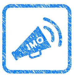 Imo megaphone alert framed grunge icon vector
