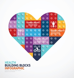 Infographic Template with heart shape building vector image