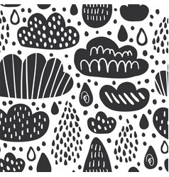 Ink seamless pattern with clouds and rainy drops vector