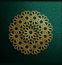 Islamic 3d gold on dark mandala round ornament on vector