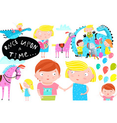 kids dragon and horse once upon a time fairy tale vector image