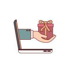 laptop computer and hand holding gift box of vector image