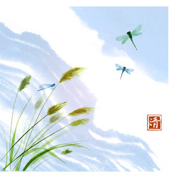 Leaves of grass dragonflies and clouds in blue vector
