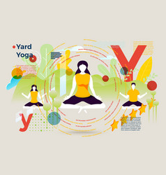 letter y with summer yard yoga people vector image