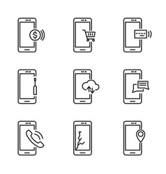 line mobile phone icons vector image