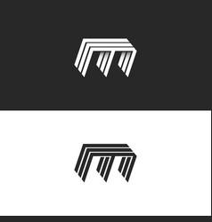 M logo lowercase letter 3d modern monogram vector