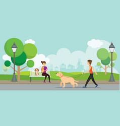 Man and woman with pets in the park vector
