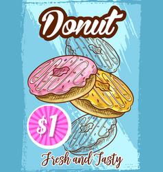 menu sketch poster for donut cake dessert vector image