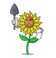 Miner sunflower mascot cartoon style vector