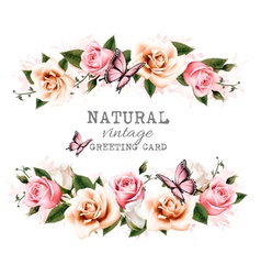 Natural vintage greeting card with roses vector