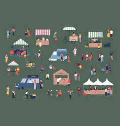 Outdoor fair market or street food festival men vector