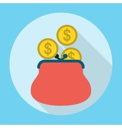 Penny in Purse Icon vector