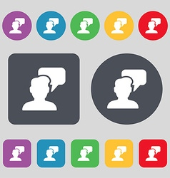 People talking icon sign A set of 12 colored vector