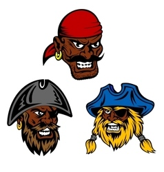 Pirate ship crew with black captain and sailors vector image