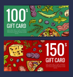 pizza restaurant or shop giftcard or vector image