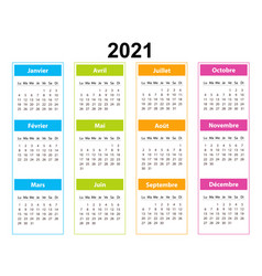 Pocket calendar on 2021 year french color vector