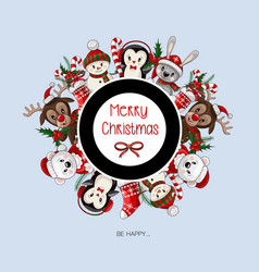postcard with cute baanimals on christmas wear vector image