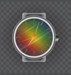 realistic of a wristwatch rainbow vector image