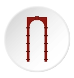 Red arch icon flat style vector