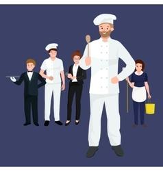 Restaurant team man cooking chef manager waiter vector