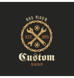 Retro Bicycle Custom Shop Label or Logo vector image