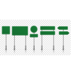 road signs green template icons vector image