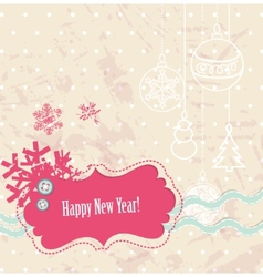scrapbook new year card vector image vector image