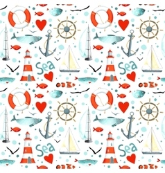Sea pattern with nautical elements vector