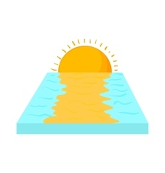 Sea sunset icon in cartoon style vector image