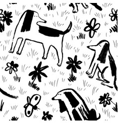 seamless pattern with cute dogs background with vector image