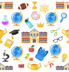 seamless pattern with school building vector image