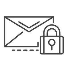 secured mail icon outline style vector image