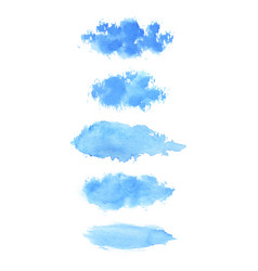 set of hand painted blue watercolor brush stroke vector image