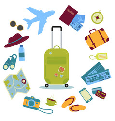 set of travel icons and images suitcase tickets vector image