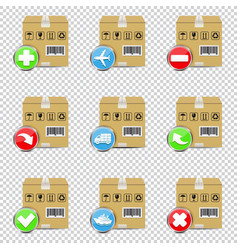 shipping icons set isolated on transparent vector image