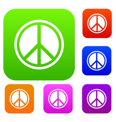 sign hippie peace set collection vector image