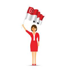 singapore flag waving woman vector image