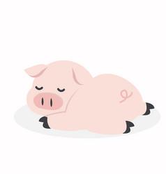 sleeping pig cartoon vector image