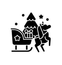 sleight ride black glyph icon vector image