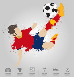 Soccer player kicks ball vector