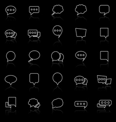 Speech bubble line icons with reflect on black vector