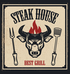 steak house banner template bull head with fire vector image