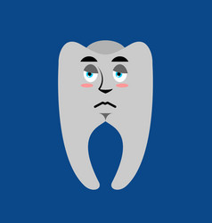 Tooth sad emoji teeth sorrowful emotion isolated vector