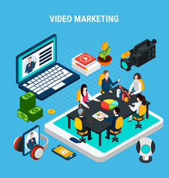 video marketing isometric composition vector image