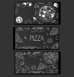 vintage horizontal italian pizza tree banners on vector image