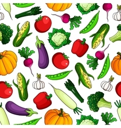 Wholesome fresh vegetables seamless pattern vector image