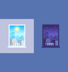 window view day and night cartoon concept vector image
