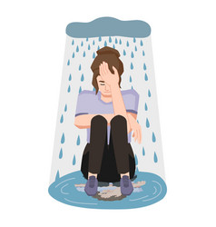 Woman in depression sitting in puddle and crying vector